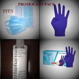 Pack 50 mascarillas FFP3, gel hicroalcholico y guantes