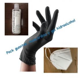 Pack 10 mascarillas KN95, gel y guantes