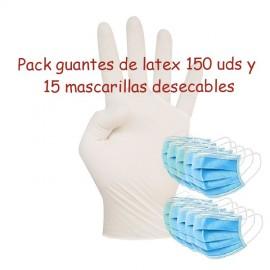 Pack guantes látex y mascarillas