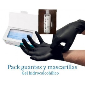 Pack Guantes de nitrilo 20 uds, mascarillas y gel alcohol