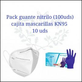 Pack guantes nitrilo  y 10 mascarillas ffp2