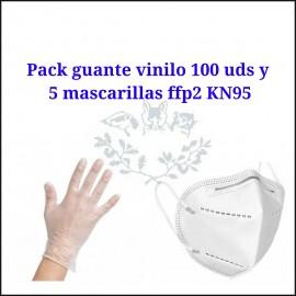 Pack gauntes vinilo y mascarillas FFP2