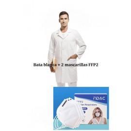 Pack bata unisex y 2 mascarillas FFP2