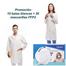 Promoción 10 batas blancas 20 mascarillas FFP2