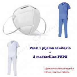 Pack 1 pijama sanitario 2 mascarillas FFP2